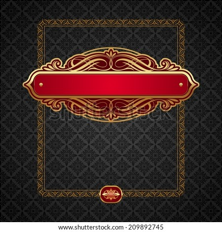 Luxury golden vintage calligraphical framed labels - stock photo