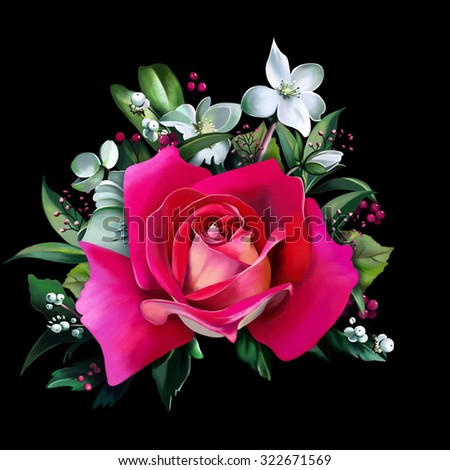 luxury pink rose, close up, with different spring flowers on a black background. - stock photo