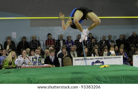 LVIV, UKRAINE - JAN. 20: Sayevych Anton competes in high jump competition with result 2.18 on the International Memorial Demyanyuk track and field meeting, on January 20, 2012 in Lviv, Ukraine.