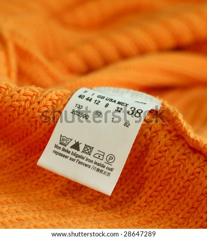 macro of clothing label - stock photo