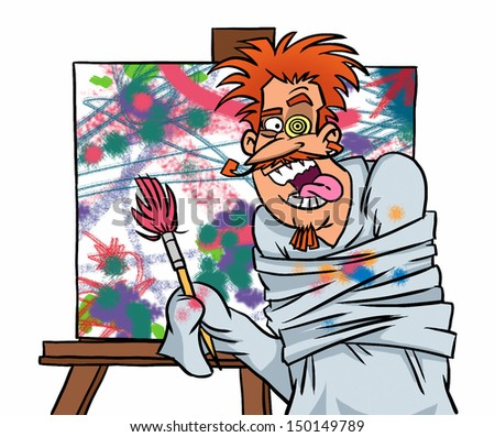 Mad painter at work - stock photo