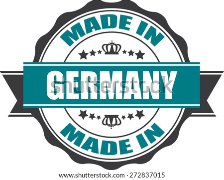 Made In Germany Grunge Rubber Stamp with Star And Ribbon. (Sticker, Tag, Icon, Symbol) - stock photo