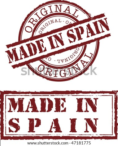 made in spain stamp with red ink