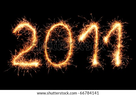 2011 made of sparkler on a black background - stock photo
