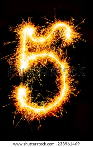 5 made of sparklers - stock photo