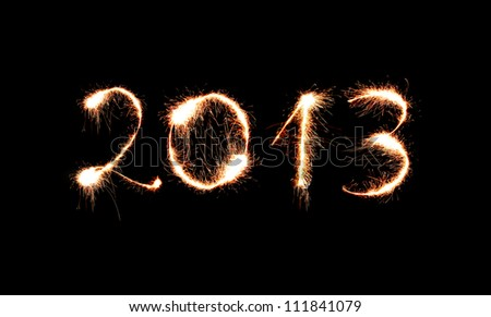 2013 made of sparkles - stock photo