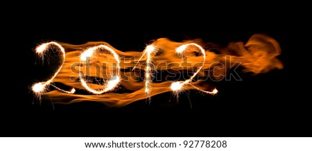 2012 made of sparkles - stock photo