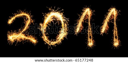 2011 made of sparkles. See other digits in my portfolio. - stock photo