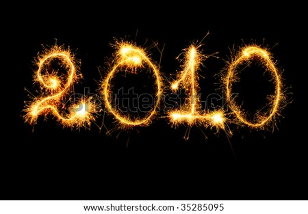 2010 made of sparks - stock photo
