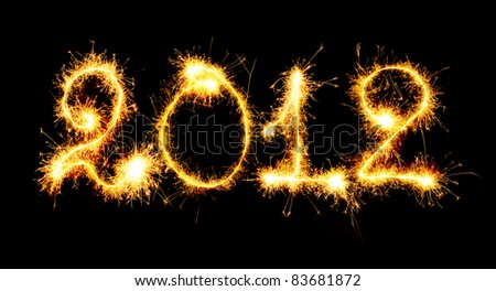 2012 made of sparks. A photo path bengal fires - stock photo