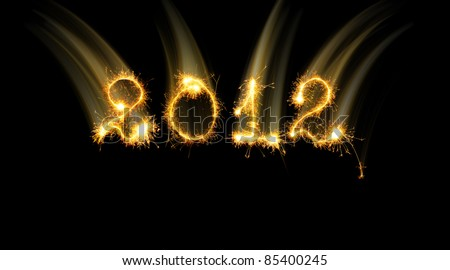 2012 made of sparks effect motion. A photo path bengal fires - stock photo
