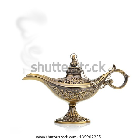 magic lamp isolated on white - stock photo