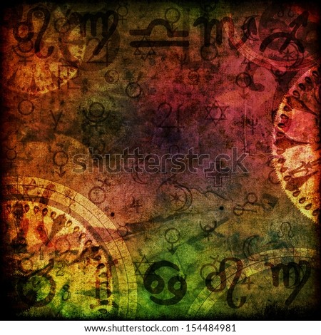magic signs astrology background illustration - stock photo