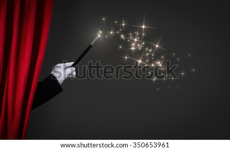 magic wand on stage, advertisement concept - stock photo