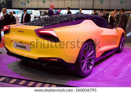2015 Magna Steyr Mila Plus Hybrid Concept presented the 85th International Geneva Motor Show on March 3, 2015 in Palexpo, Geneva, Switzerland
