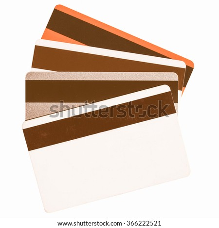 Magnetic cards isolated over a white background vintage