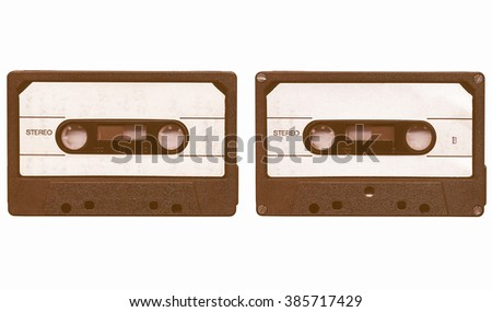 Magnetic tape cassette for analog audio music recording vintage