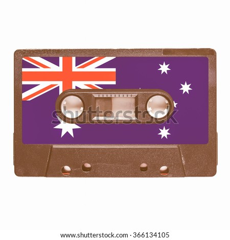 Magnetic tape cassette for audio music recording - Aussie music vintage - stock photo