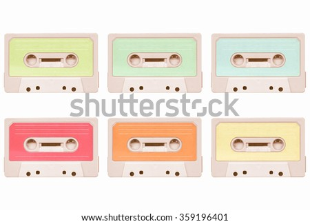 Magnetic tape cassette for audio music recording collage - isolated over white background vintage - stock photo