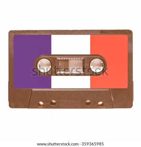 Magnetic tape cassette for audio music recording - French music vintage - stock photo