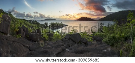 Mahe island, Seychelles panorama at sunset - stock photo