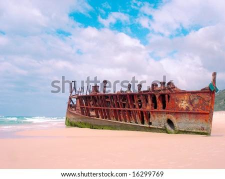 Maheno Ship Wreck - stock photo