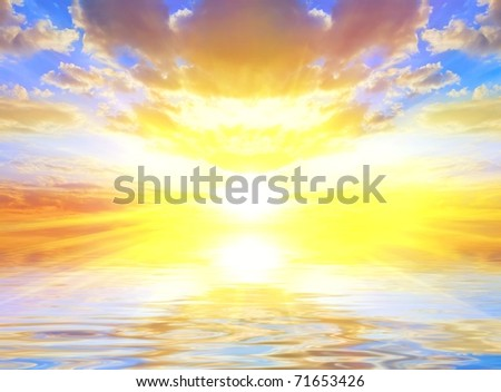 majestic sunset reflected in a quiet water - stock photo