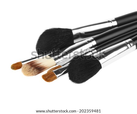 makeup brushes isolated over white  - stock photo