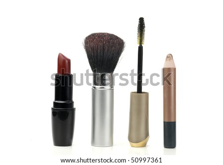 makeup tools used in cosmetics, over white background
