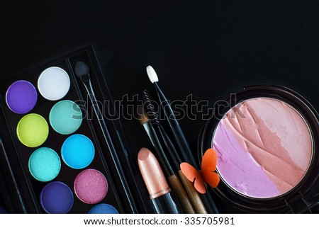 2016 makeup trends,spring and summer look fresh and bright with duo tone eyeshadow,blue and green matching nude lipsticks and peachy cheeks - stock photo