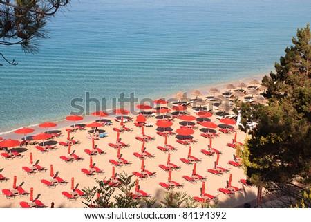 'Makris Gialos' and 'Platis Gialos' beach at Argostoli of Kefalonia island in Greece - stock photo