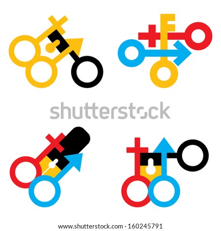 male and female signs set - stock photo