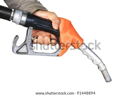 Male hand holding gas pump isolated - stock photo