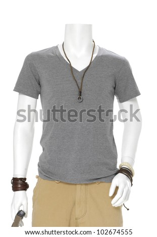 male mannequin dressed in t- shirt with sunglasses