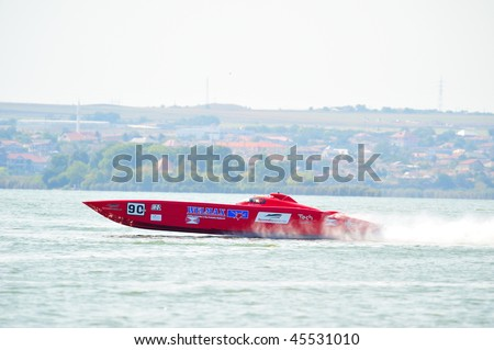 MAMAIA, ROMANIA - AUGUST 28: Boat Welmax of UGLAND OFFSHORE RACING TEAM at official practice during the Class One Romanian Grand Prix August 28, 2009 in Mamaia, Romania - stock photo