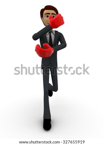 man block attack with boxing gloves concept on white background - 3d rendering, front angle view - stock photo
