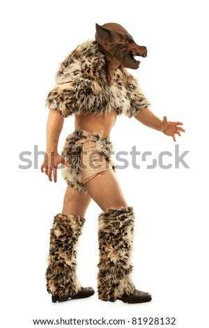 man in an image of  snarling scary werewolf attacking the viewer - stock photo