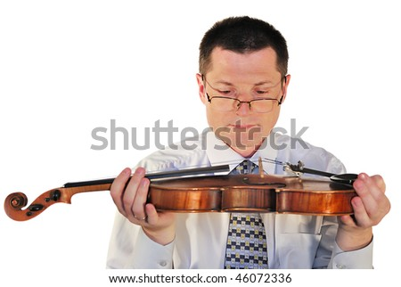 man with a age-old violin, isolated on a white background