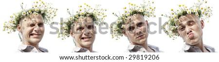man with chamomile diadem - stock photo
