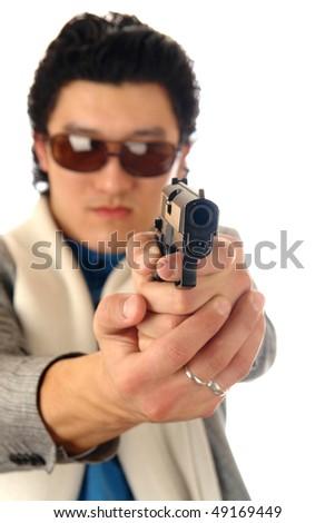 man with gun portrait - stock photo