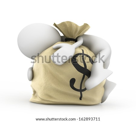Man with money bag - stock photo