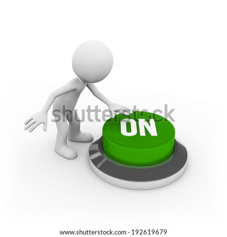 Man with on button on white background