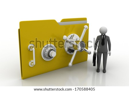 man with protected folder - stock photo