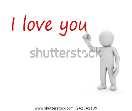"Man writing a love message ""I love you"" - stock photo"
