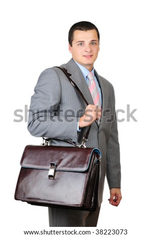 Manager and leather briefcase isolated on white background - stock photo