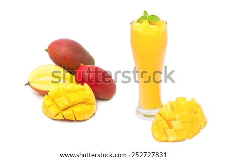 mango smoothie drink, healthy drink - stock photo