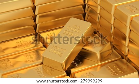 Many golden bars near each other. 3d. - stock photo