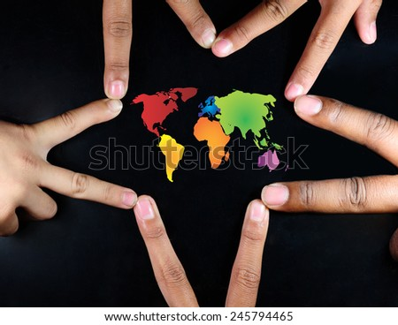 many hands protect the planet isolated on black background  - Environmental Protection concept - stock photo