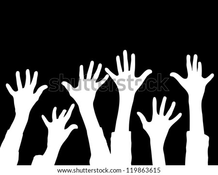 Many Hands raise high up on black background