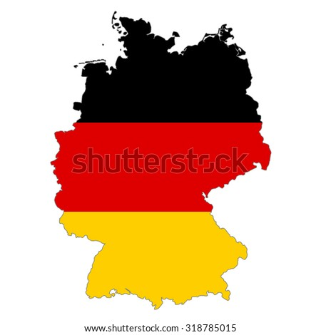 map Germany  flag colors.  - stock photo
